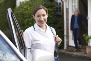 Nurse opening the car door