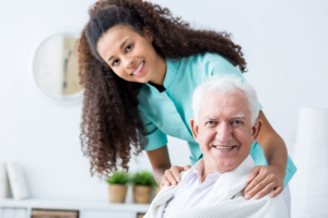 Nurse comforting a senior