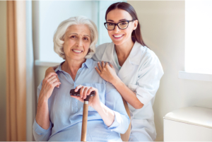 Nurse accompanying a senior